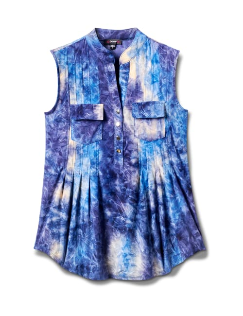 Denim Tie Dye Jaquard Pintuck Popover - Royal/Navy - Front
