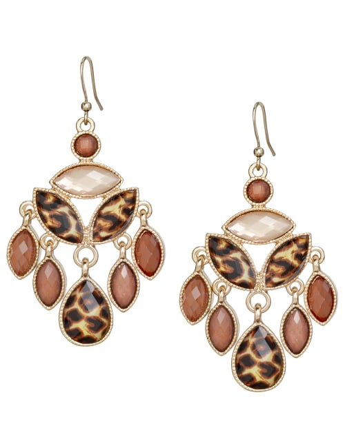 Leopard Chandelier Earrings - Brown - Front