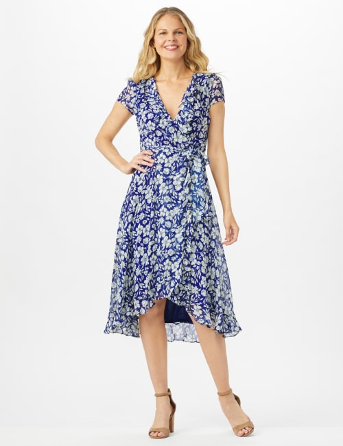 Floral Ruffle Neck Wrap Chiffon Dress - Blue Cream - Front