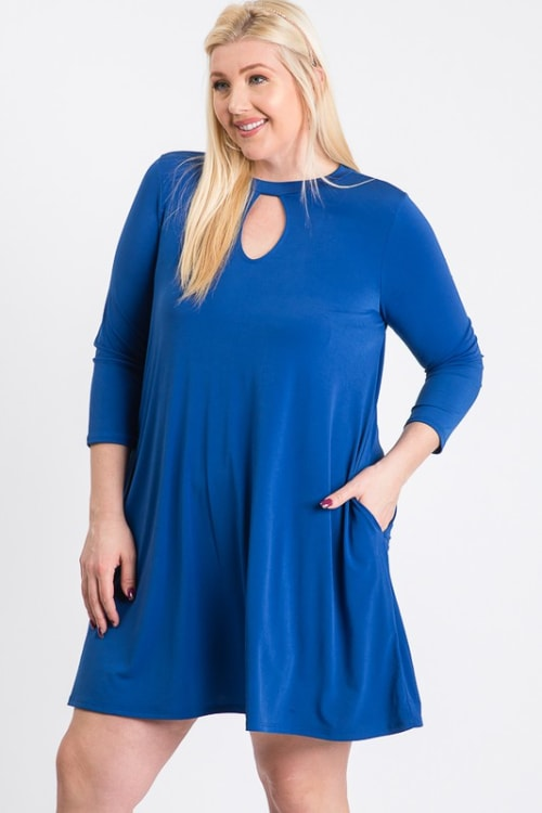 Always Ready Comfy Dress - Royal - Front