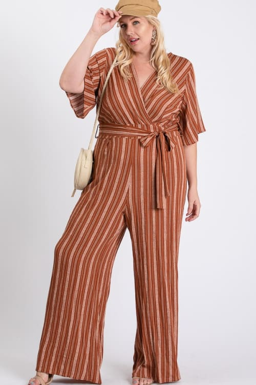 Summer Glam Stripe Jumpsuit - Rust / Cream - Front