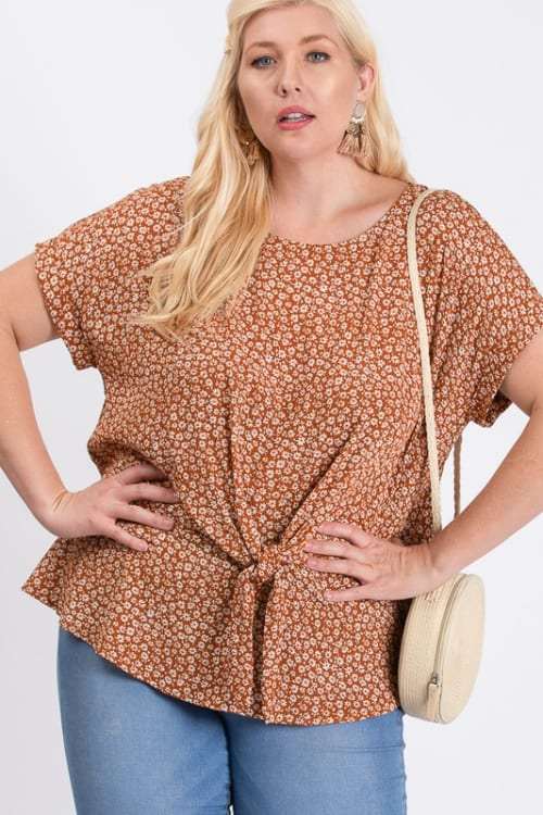 Flower-Printed Top - Rust / Cream - Front