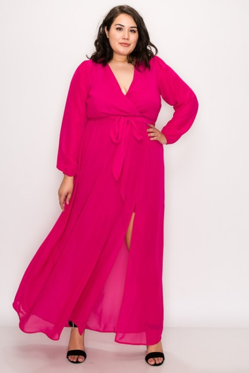 To Wow Maxi Dress - Fuchsia - Front