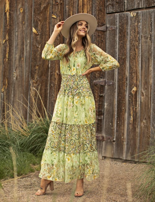Pre-Order Printed Lace Tiered Maxi Dress - green - Front