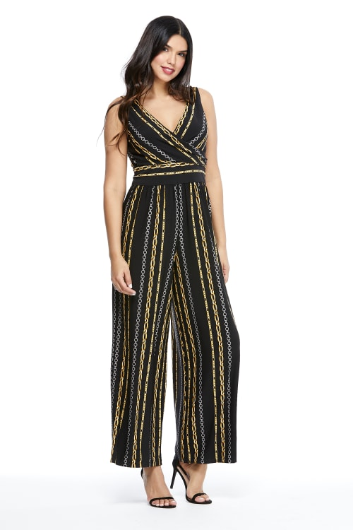 Pre-Order  Whitney Chain Stripe Jumpsuit - Black/Gold - Front