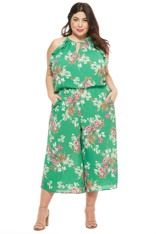 Meadow Halter Ruffle Sleeve Jumpsuit - Green/Multi - Front