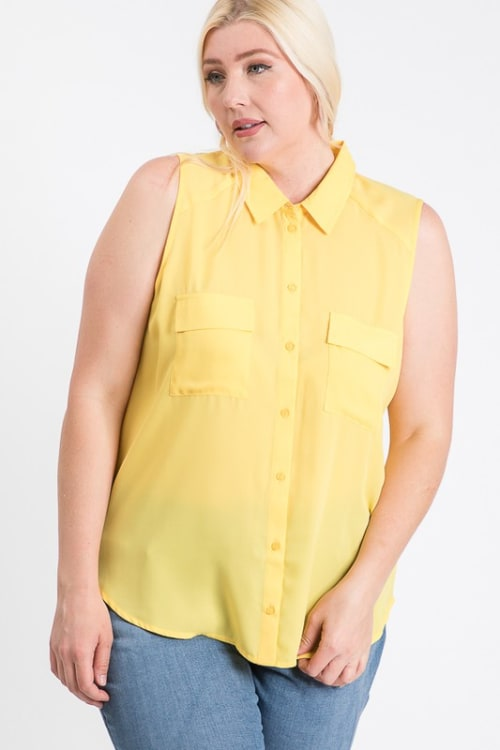 The Not So Classic Buttoned Top - Yellow - Front