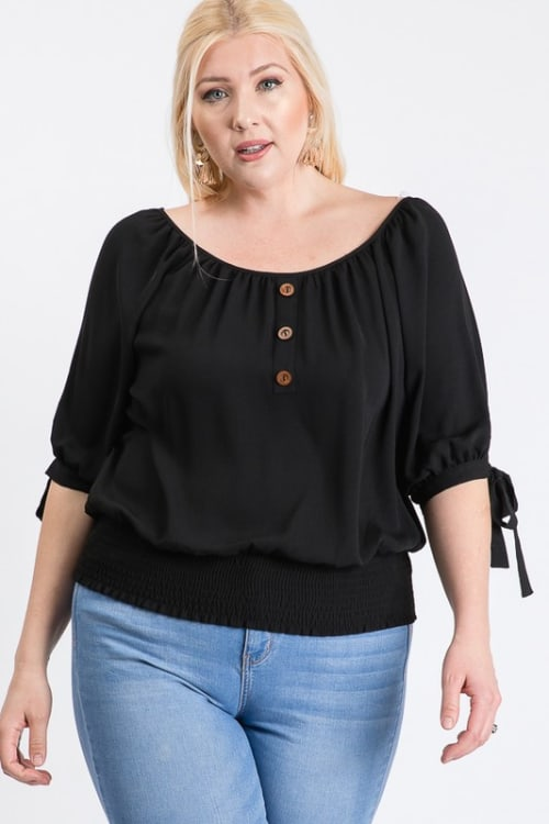 Simply Cute Off-Shoulder x Smocking Top - Black - Front