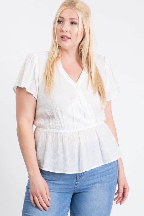 Stylish Over-Wrap Top - White - Front