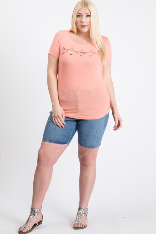 Your Everyday Rib Top - Pink - Front