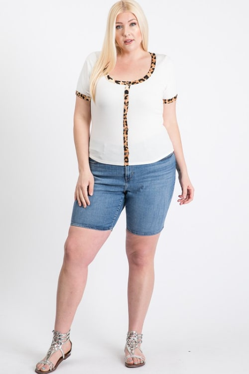 Tiger Print Tee - White - Front