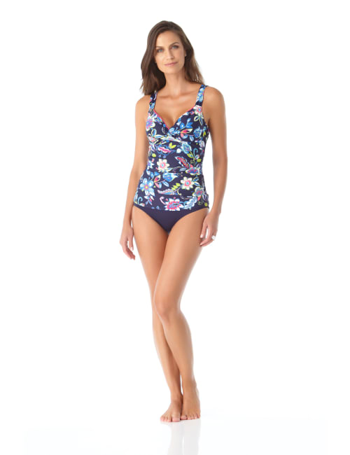 Anne Cole® Holiday Paisley Underwire Tankini Swimsuit Top - Multi - Front