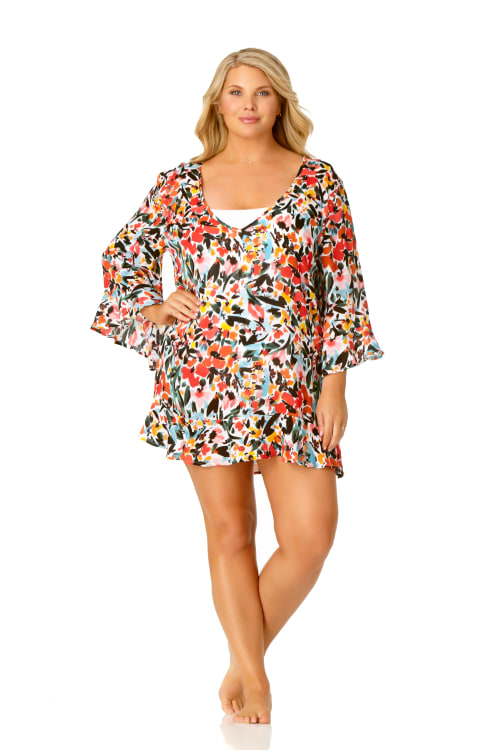 Pre-Order Anne Cole® Sunset Floral Flounce Sleeve Swimsuit Cover-Up - Multi - Front