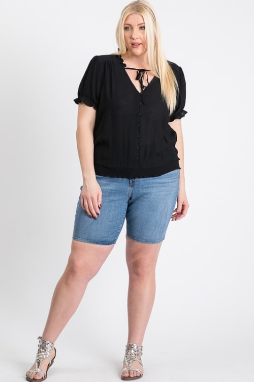 Frill Neck Smocking Top - Black - Front