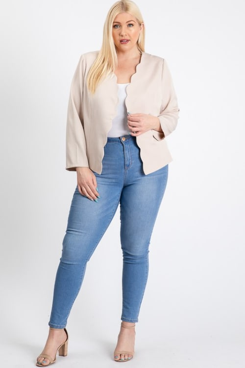 Mind My Business Scallop Jacket - Ivory - Front