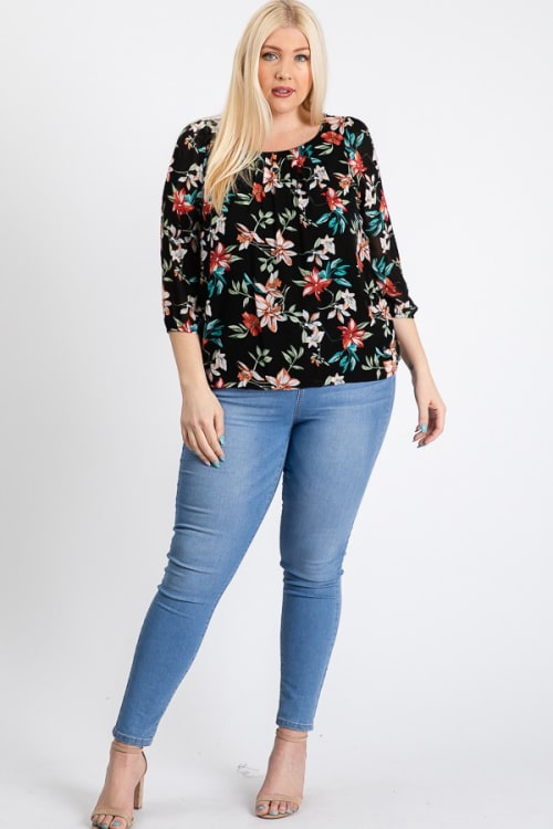 Ah-mazing Chiffon Floral Top - Black - Front