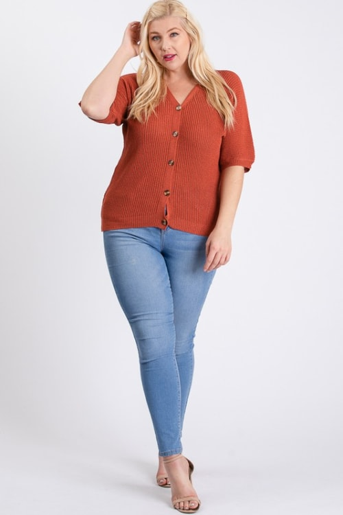 V-Neck Sweater - Rust - Front