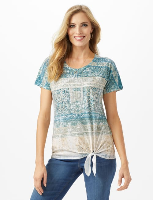 Tie Front Ombre Print Knit Top - Green Blue - Front