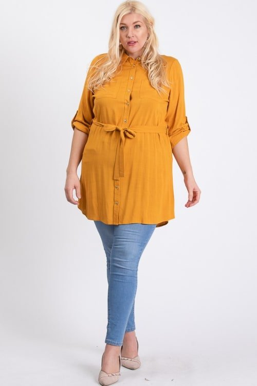 Buttoned Shirt Dress - Mustard - Front