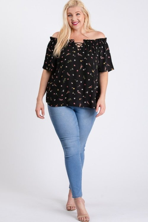 Small Flowers Off-Shoulder Top - Black - Front