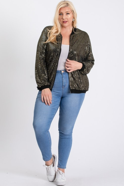 Bling Bling Sequin Jacket - Gold - Front