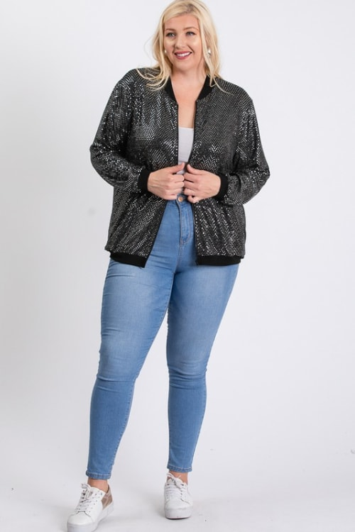 Bling Bling Sequin Jacket - Silver - Front