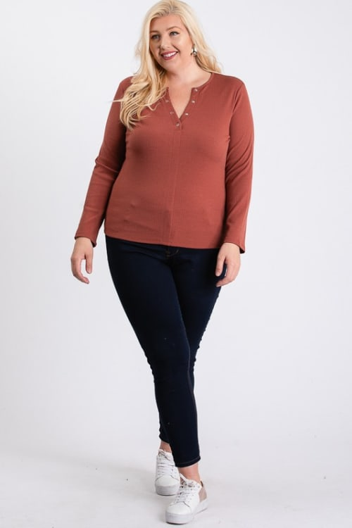 V-Neck Plain Sweater - Rust - Front