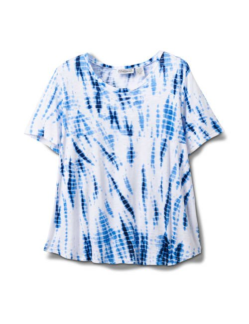 Embellished Tie Dye Knit Top - Blue/White - Front