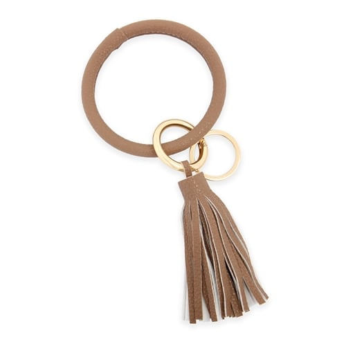 All Leather Tassel Key Ring - Light Brown - Front