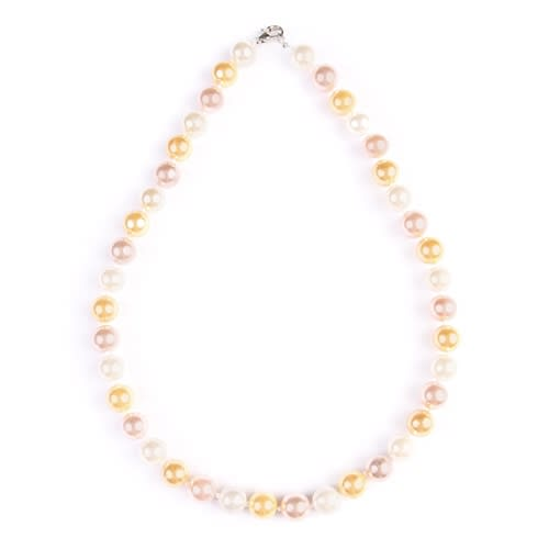 Classic Multi-Color Pearl Necklace - Amber - Front