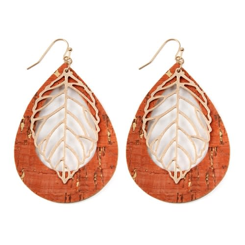 Vintage Teardrop Orange Leaf Earrings - Orange - Front