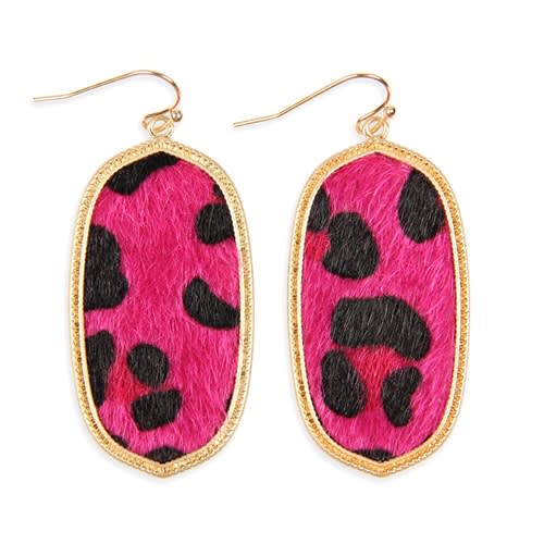 Fuchsia Leopard Print Drop Earrings - FUCHSIA - Front