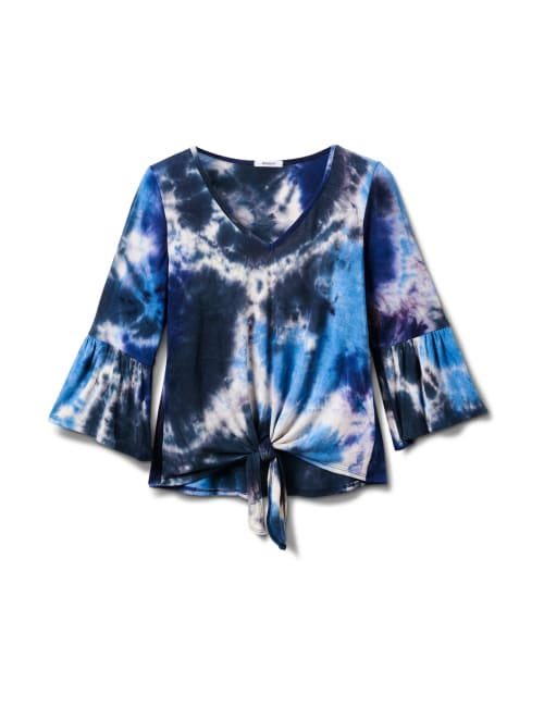 V-Neck Tie Dye Tie Front Knit Top - Misses - Navy - Front