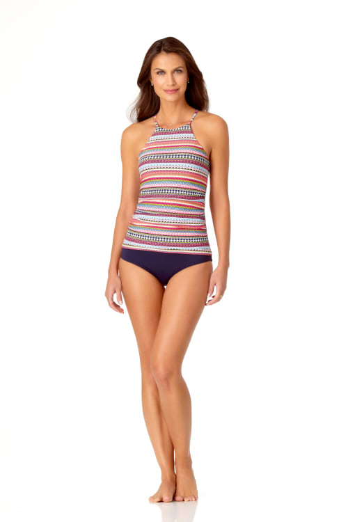 Anne Cole® Jet Set Stripe High Neck Tankini Swimsuit Top - Multi - Front