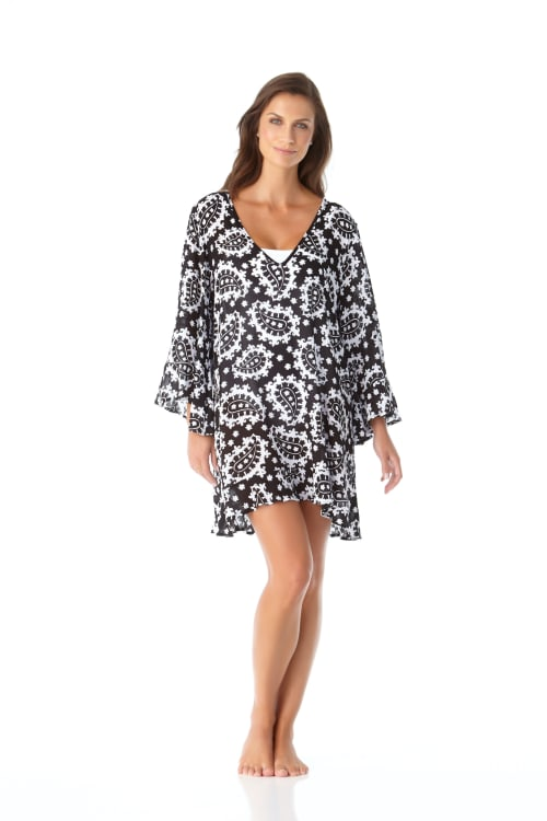 PRE ORDER Anne Cole® Riveria Paisley Flounce Sleeve Tunic Swimsuit Cover-Up - Black/White - Front