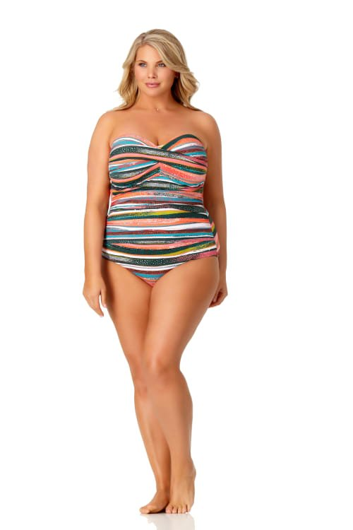 PRE ORDER Anne Cole® Sand Stripe Bandeau One Piece Swimsuit - Multi - Front