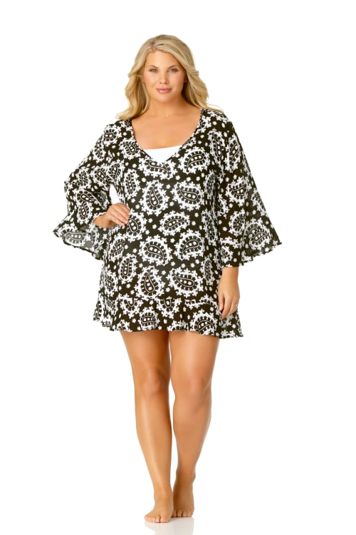 Anne Cole® Riveria Paisley Tunic Swimsuit Cover-Up - Black/White - Front