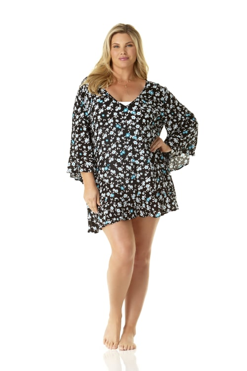 Anne Cole® Beautiful Bunches Tunic Swimsuit Cover-Up - Plus - Multi - Front