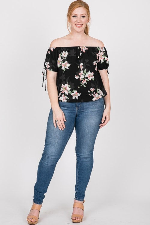Delicate Floral Top - Black - Front