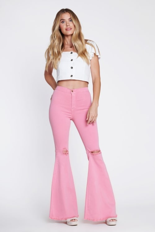 Pink Knee-Ripped Flare Jeans - Blush - Front