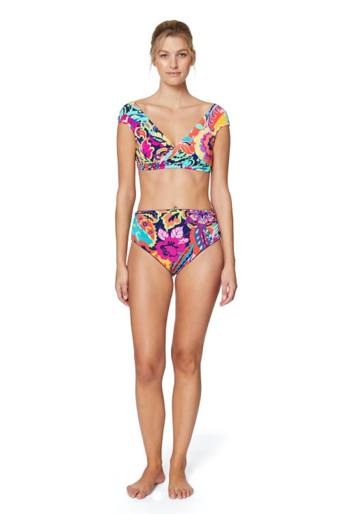 PRE ORDER Tahari® Paris Floral Shirred High Waist Swimsuit Bottom - Multi - Front