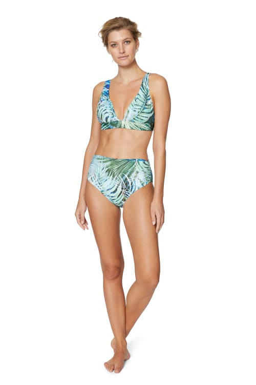 PRE ORDER Tahari® Camo Palm Shirred High Waist Swimsuit Bottom - Green - Front