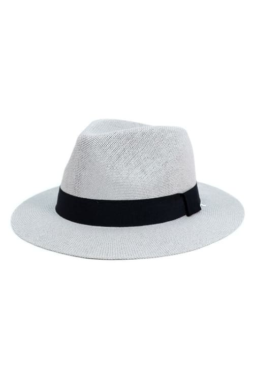 Colorful Wide Brim Panama Hat - Gray - Front