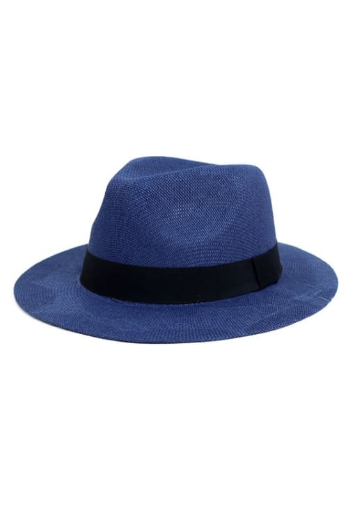 Colorful Wide Brim Panama Hat - Navy - Front