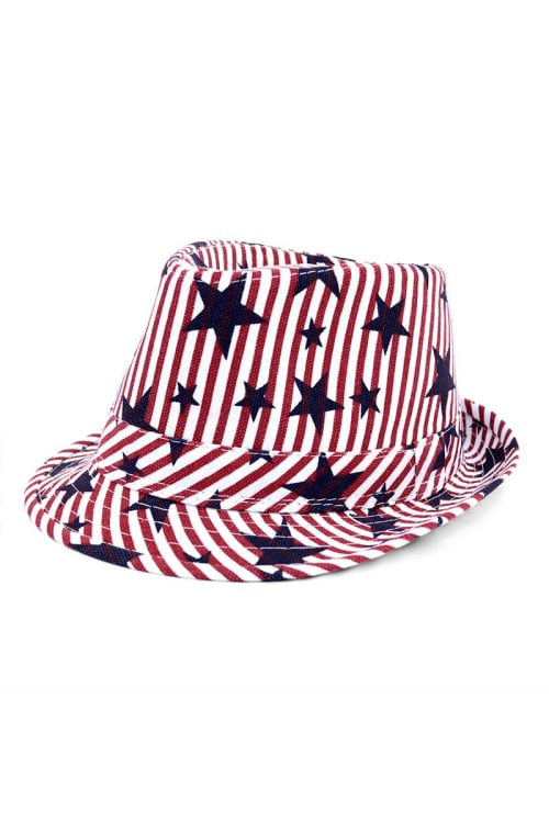 Pre-Order Spring/Summer USA Stars StripesTrilby Fedora - One Color - Front