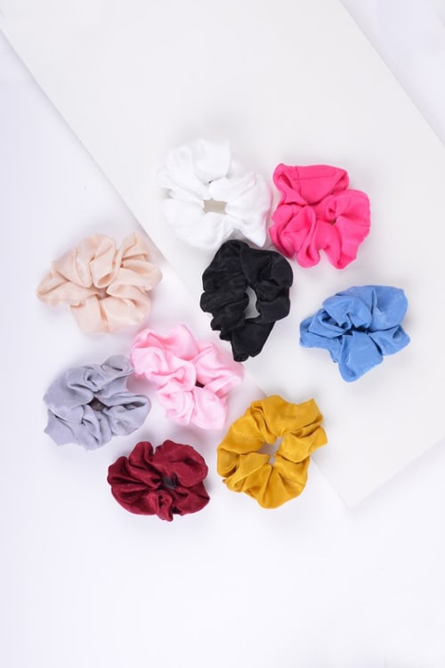 Pre-Order 12-piece Solid Scrunchie Hair Ties - Multi - Front
