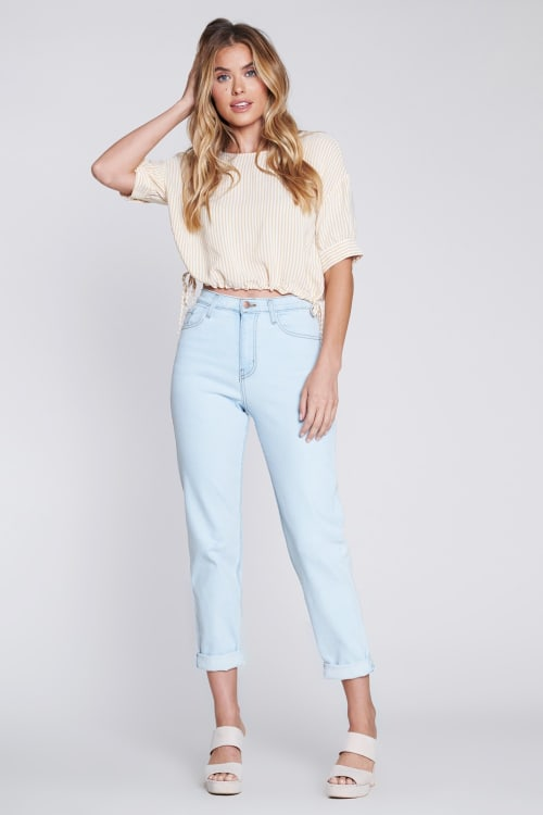 Vibrant Classic Mom Jeans - Light stone - Front