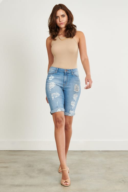 Denim Ripped Shorts - Medium stone - Front