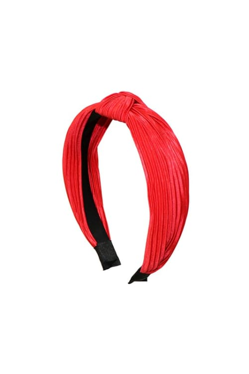 Pre-Order Pleated C-Shaped Headband - Red - Front