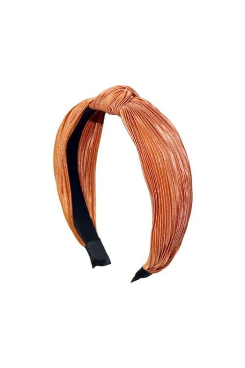 Pre-Order Pleated C-Shaped Headband - Rust - Front